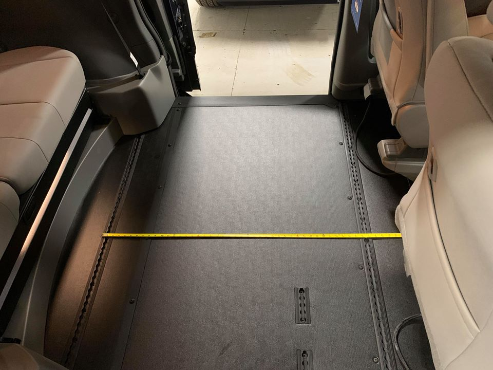 Interior floor length between backseat and front seat view of 2020 TOYOTA SIENNA XLE