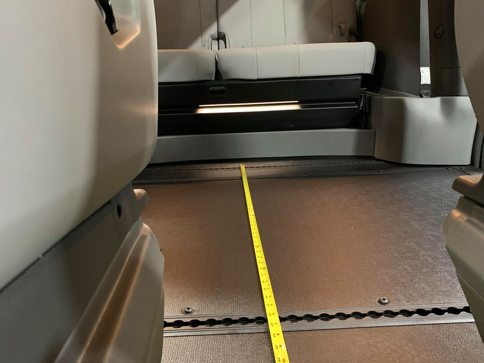 Second angle of space between backseat and front seat of 2020 TOYOTA SIENNA XLE