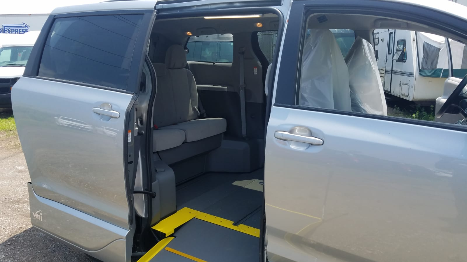 Close up of side ramp and backseat of 2020 Toyota Sienna LE