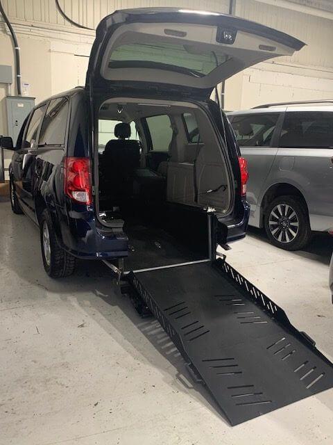 Exterior rear ramp opened view of 2013 Dodge Grand Caravan