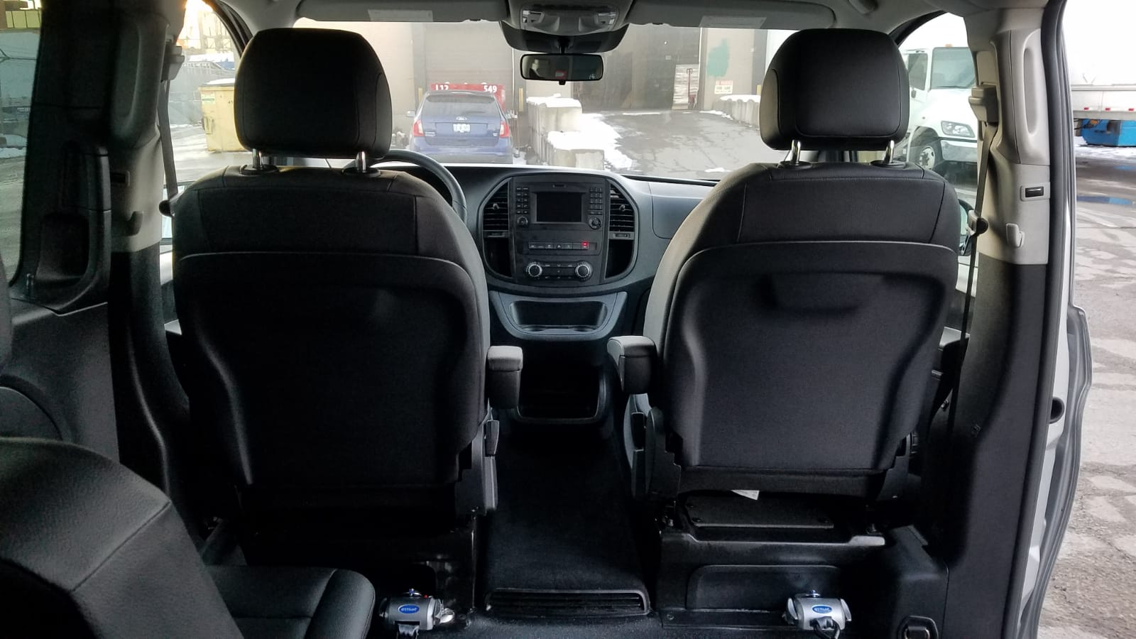 Interior view of wheelchair seat perspective of 2020 Mercedes Metris
